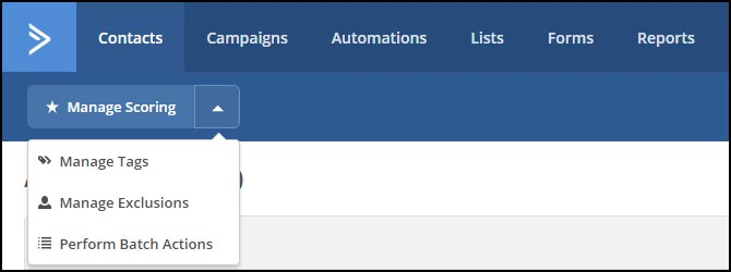 The contact management sub-menu in ActiveCampaign