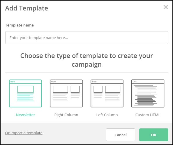 The add template dialog box...