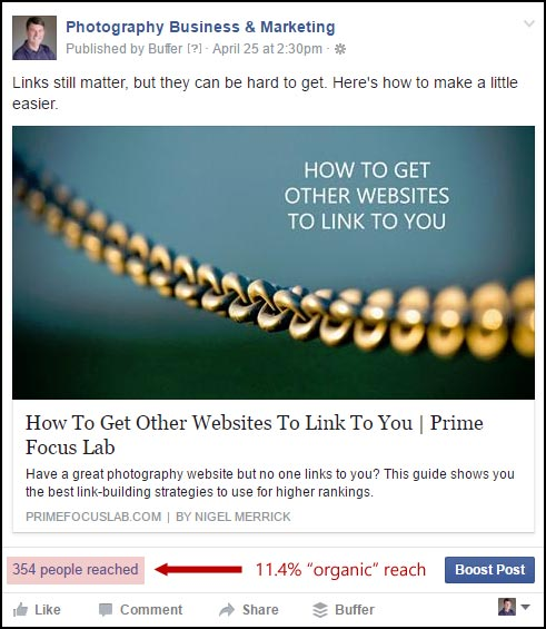 An example of a Facebook page update, showing the organic (non-paid) reach of the post to the page fans.