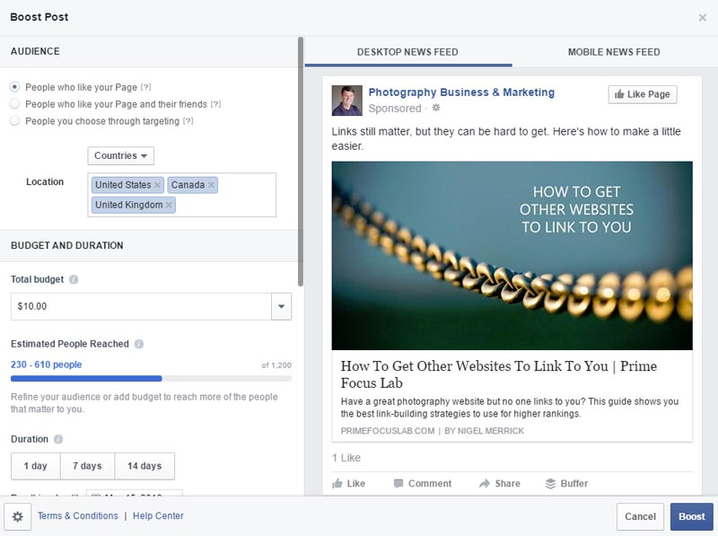 The boost post panel in Facebook. Here is where you can set up an entire ad at once to boost a page update to more people.