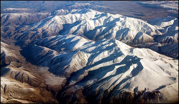 An aerial view of the Southern Alps, New Zealand