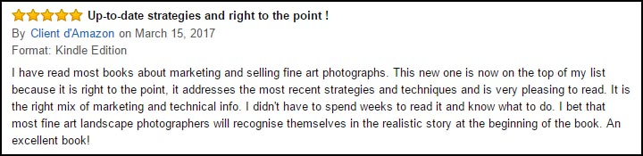 Amazon review for Selling Fine Art Photography
