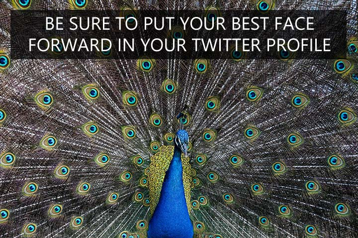 Be sure to put your best face forward in your Twitter profile - don't be tempted to hide behind your camera!